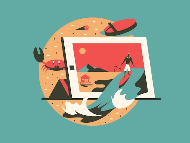 Remote freelance werk concept plat ontwerp