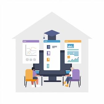 Remote job concept vlakke afbeelding - global uitbesteden, teamwerk. mensen werken aan een project met gedeelde bestanden - grafieken, gegevens, bestanden - online cloud-bestanden delen project.