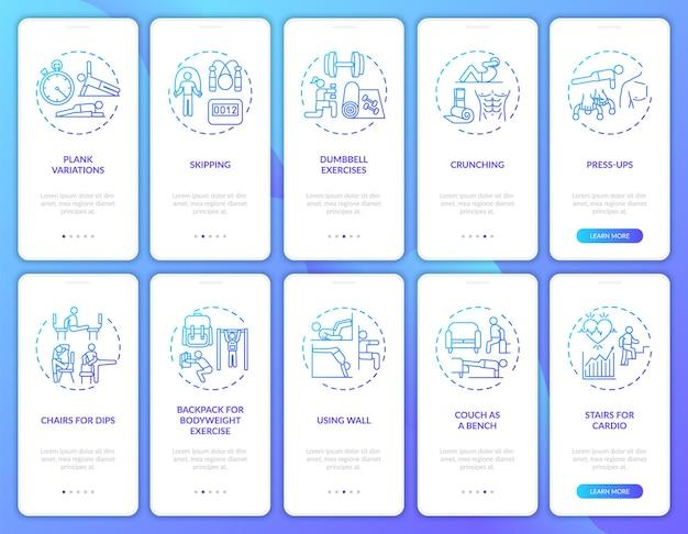 Remote pilates online onboarding mobiele app paginascherm met concepten ingesteld. oefeningen, doorloopstappen voor fitnessapparatuur. ui-sjabloon