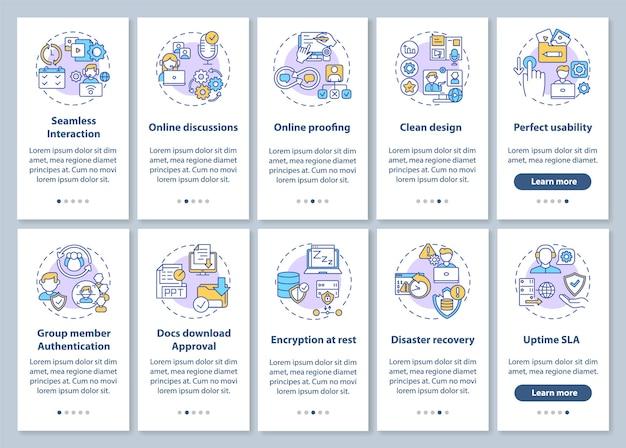 Remote work app-functies onboarding mobiele app-paginascherm met ingestelde concepten