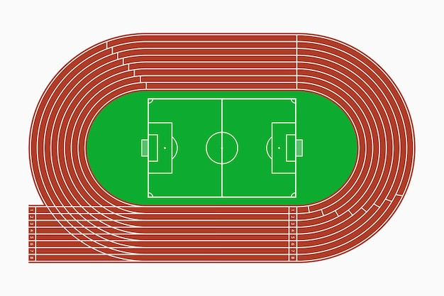 Renbaan en voetbal of voetbalveld, bovenaanzicht van sportstadion. vector illustratie.