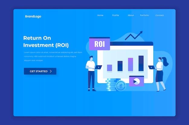 Rendement op investering illustratie concept voor bestemmingspagina's van websites