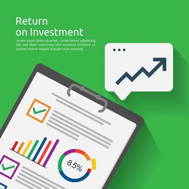 Rendement op investering roi-concept. bedrijfsdocumentrapport met groeipijlen naar succes. grafiek winst verhogen. financiën rekken omhoog.