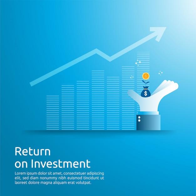 Rendement op investering roi-concept. zakelijke groei pijlen naar succes. dollar geld tas op grote investeerder hand. grafiek winst verhogen. financiën rekken omhoog.