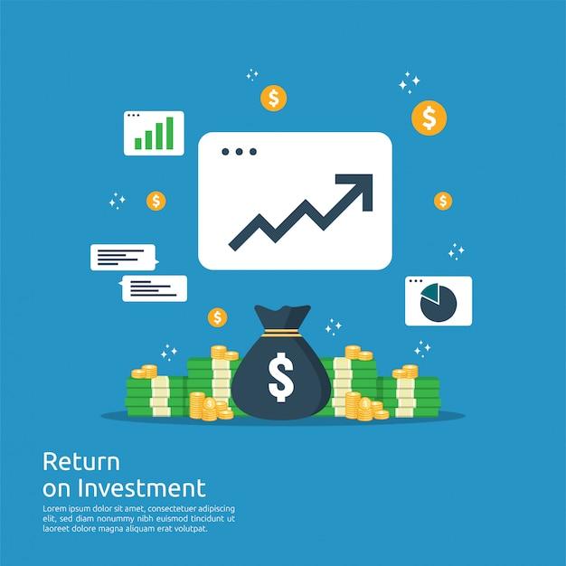 Rendement op investering roi-concept. zakelijke groei pijlen naar succes. dollar stapel stapel munten en geld tas. grafiek winst verhogen. financiën rekken omhoog.