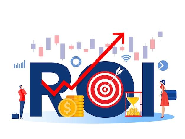 Rendement op investering roi en financiële groei marketing winst