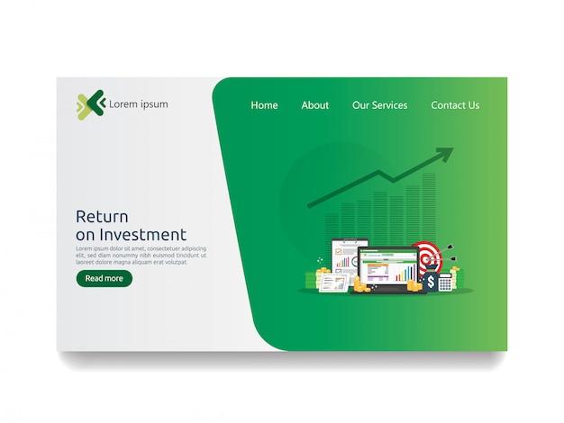 Rendement op investering roi en seo data-analyse bestemmingspagina