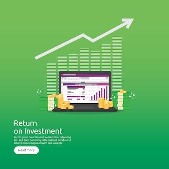 Rendement op investering roi en seo data analytisch concept