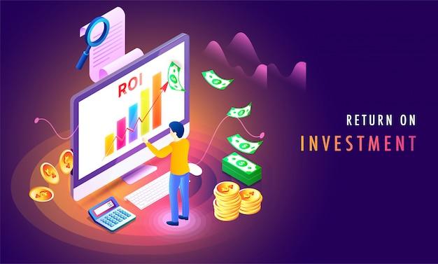Rendement op investering (roi) isometrische achtergrond.