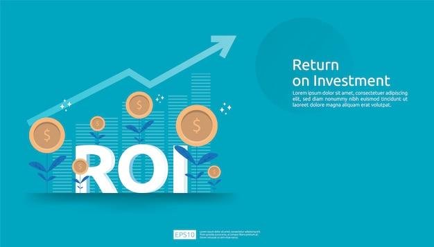 Rendement op investering, winstkansenconcept. zakelijke groei pijlen naar succes. roi-tekst met succes pijl grafiek grafiek verhogen en groeien dollar munten plant.