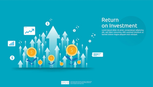Rendement op investerings-roi, concept van winstkansen. zakelijke groei pijlen naar succes. pijl met dollar plant munten, grafiek en grafiek verhogen.