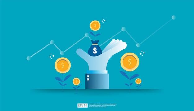 Rendement op investerings-roi, concept van winstkansen. zakelijke groei pijlen naar succes. zak groeien dollar munt plant geld zak op grote investeerder hand met verhoging grafiek grafiek.