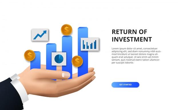 Rendement op investerings-roi, winstkansenconcept. bedrijfsfinanciering groei naar succes. hand met staafdiagram info afbeelding