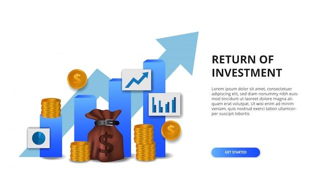 Rendement op investerings-roi, winstkansenconcept. bedrijfsfinanciering groei naar succes. staafdiagram presentatieconcept met pijl