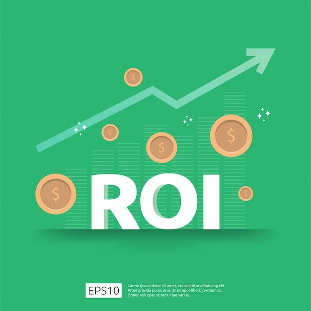 Rendement op investeringsconcept. zakelijke groei pijlen naar succes. roi-tekst met de installatie van dollarmuntstukken. grafiek winst verhogen. financiën rekken omhoog.
