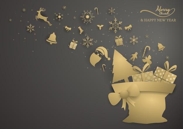 Rendier en decoratie springen uit tas, vrolijk kerstfeest