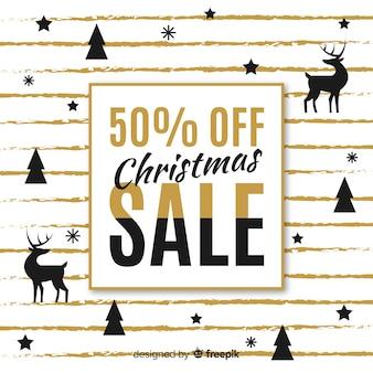 Rendier en dennen silhouet kerstmis verkoop achtergrond