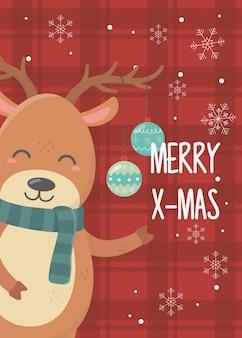 Rendier met gelukkige kerstmis van de ballenviering