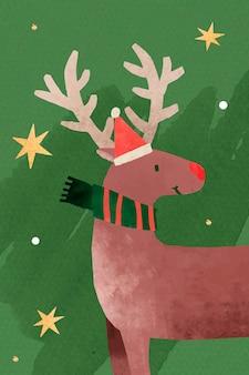 Rendier met kerstmuts doodle