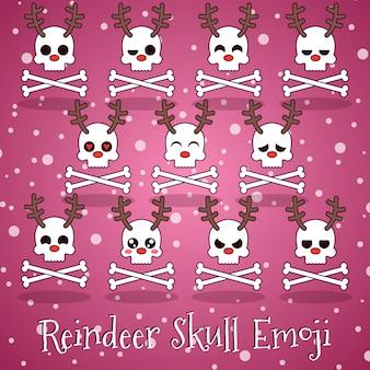Rendier skull emoji met botten