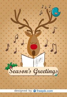 Rendier zingen kerstliederen vector cartoon illustratie