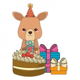 Rendieren cartoon met gelukkige verjaardag pictogram