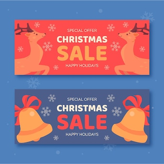 Rendieren en jingle bells kerst verkoop banners