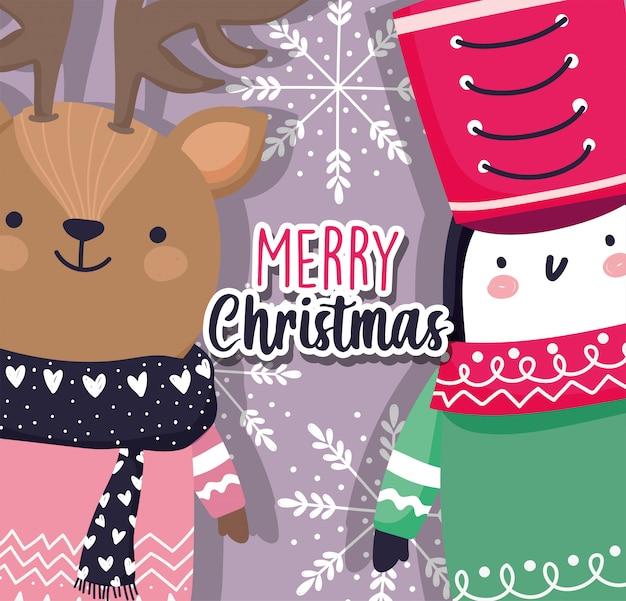Rendieren en pinguïn vrolijk kerstfeest