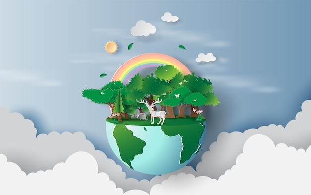 Rendieren in groene bomen bos