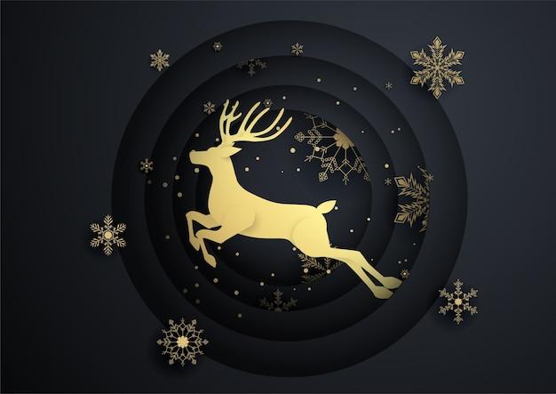 Rendiersprong in cirkel met gouden sneeuwvlok, prettige kerstdagen, gelukkig nieuwjaar.