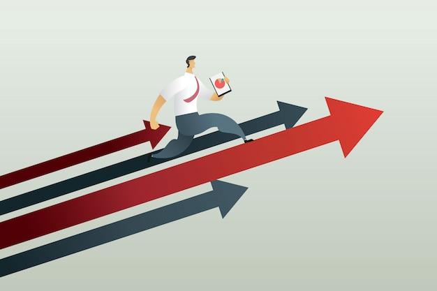 Rennen naar pad om een doel, bedrijfsconcept te bereiken