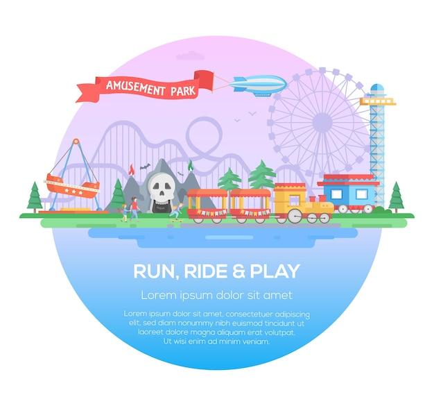 Rennen, rijden en spelen - moderne vectorillustratie in een rond frame met plaats voor tekst. attracties, bomen, draaimolens, kasteel, toren, horror, trein. vermaakconcept. amusement, themapark afbeelding