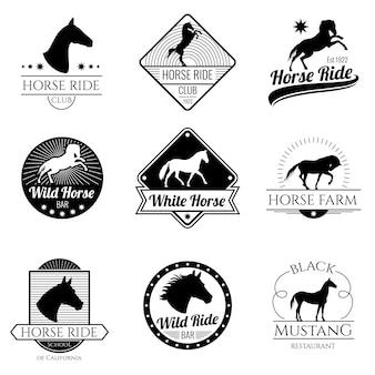 Rennend paard, lopende merrie vector uitstekende geplaatste emblemen en etiketten