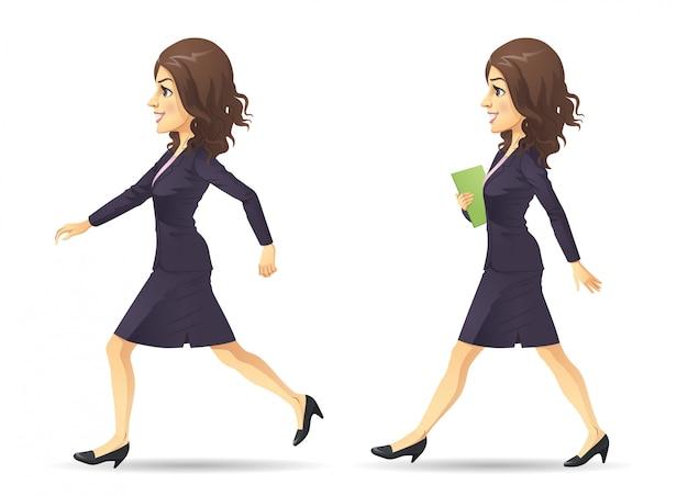 Rennende en lopende zakenvrouw