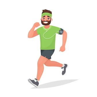 Rennende man. een persoon houdt zich bezig met fitness. ochtend joggen