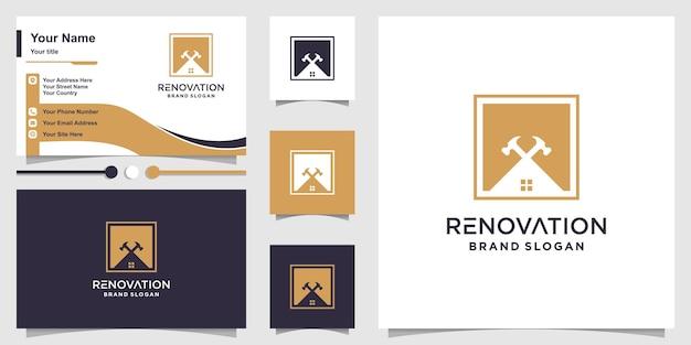 Renovatie logo abstract met modern concept premium vector