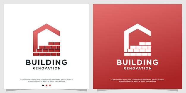 Renovatie logo sjabloon met huisconcept premium vector