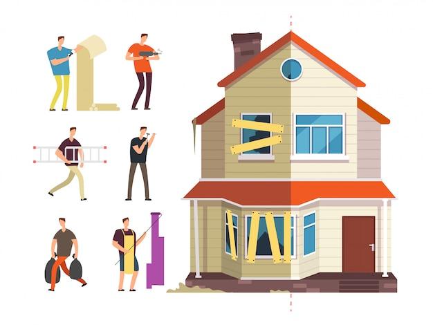 Renovatie van huis met herstellersmensen