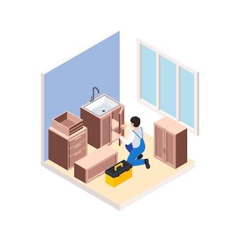 Renovatiereparatie werkt isometrische compositie met karakter van klusjesman die meubels in de keuken monteert