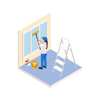 Renovatiereparatie werkt isometrische compositie met karakter van vrouwelijke werknemer die het raam schoonmaakt