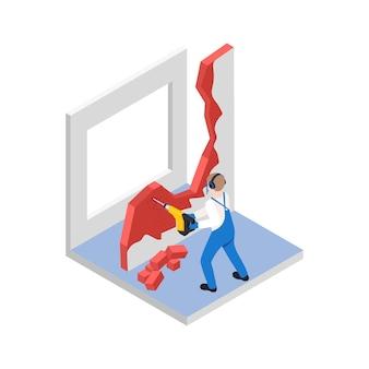 Renovatiereparatie werkt isometrische compositie met karakter van werknemer die oude muur breekt
