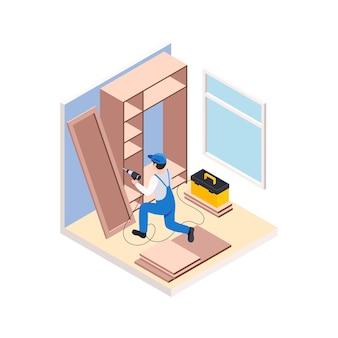 Renovatiereparatie werkt isometrische compositie met mannelijk karakter van werknemer die meubels monteert