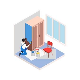 Renovatiereparatie werkt isometrische compositie met werknemer die oude kast schildert met blauwe verf