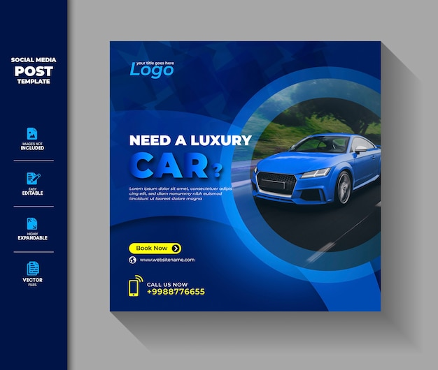 Rent a car rental rental social media post template