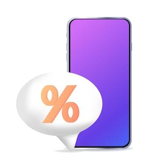 Rente-cashback-sjabloon voor reclamefinanciering volumetrisch teken en telefoon