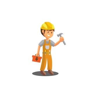 Reparateur holding hamer werknemer monteur werkplaats embleem badge mascotte illustratie