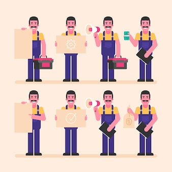 Reparateur houdt borden megafoon geld en andere objecten. karakterset. vectorillustratie