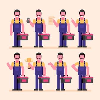 Reparateur houdt koffer telefoon beker document. karakterset. vectorillustratie