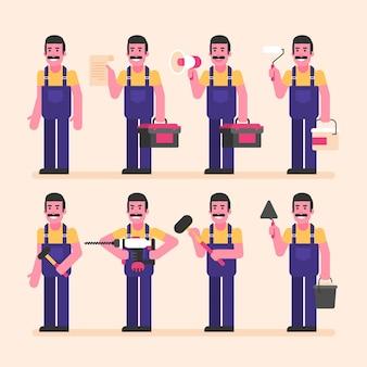 Reparateur is half gedraaid en houdt verschillende items vast. karakterset. vectorillustratie