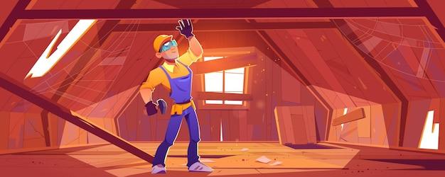 Reparateur op oude zolder met gebroken dak en vloer